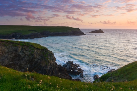 polly: Sunset at Porth Joke on the North Cornwall Coast Stock Photo