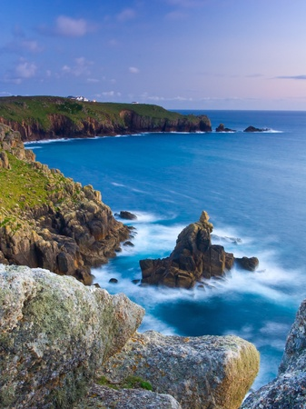 sennen: Rock formation knowns as the Irish Lady at Sennen Cove Cornwall England UK Stock Photo