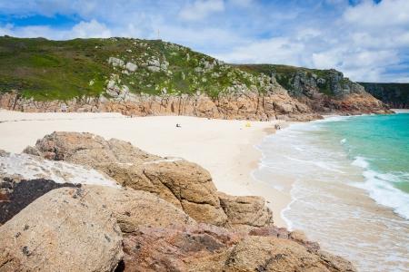 porthcurno: The golden sandy beach at Porthcurno Cornwall England UK