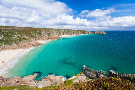 porthcurno: Porthcurno Beach and Treen Cliffs from the coastpath near the Minack Cornwall England UK Stock Photo