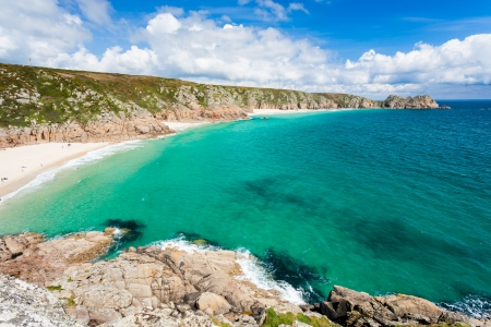 Porthcurno Beach and Treen Cliffs from the coastpath near the Minack Cornwall England UK Stock Photo