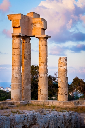 Evening light on the Acropolis of Rhodes at Monte Smith on the Island of Rhodes Greece Stock Photo - 13883818