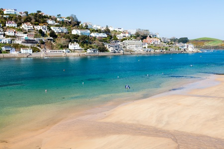 Overlooking the beach at Mill Bay on the Salcombe Estuary, Devon England UK Stock Photo