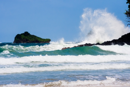 colon panama: Waves crashing on Red Frog beach Bastimentos Island Bocas Del Toro Panama