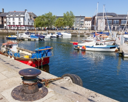 plymouth: Sunny day at the harbour in the Barbican area of Plymouth Devon England UK Stock Photo