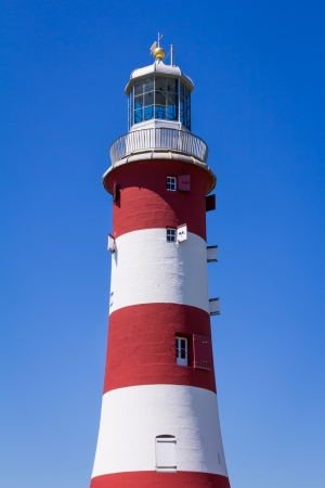 groundbreaking: The former Eddystone Lighthouse, Smeatons Tower was built on Plymouth Hoe to Celebrate it groundbreaking design. Stock Photo