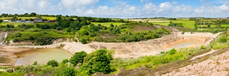 tailings: Abandoned mine and tailings dam at Wheal Maid Valley Cornwall England UK