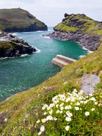 The entrance to the harbour at Boscastle on the North Cornwall Coast photo