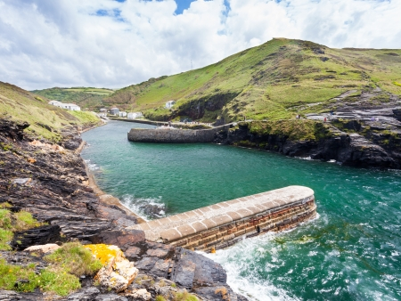 The harbour entrance and dramatic scenery at Boscastle Cornwall England UK photo