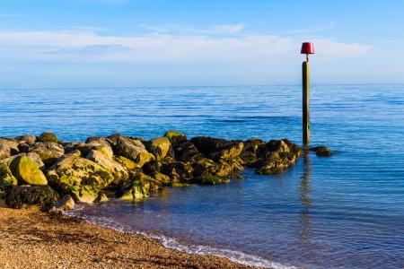 groyne: Stone Groyne at Ringstead Bay Dorset England UK