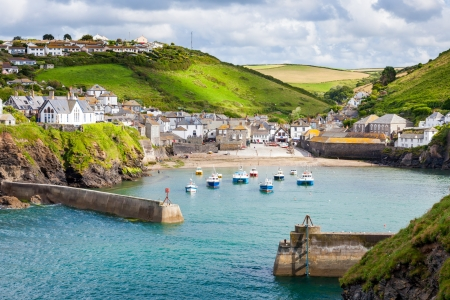 english village: fishing village of Port Isaac, on the North Cornwall Coast, England UK