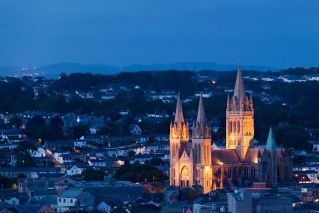 Truro Cathedral at night, Cornwall England UK