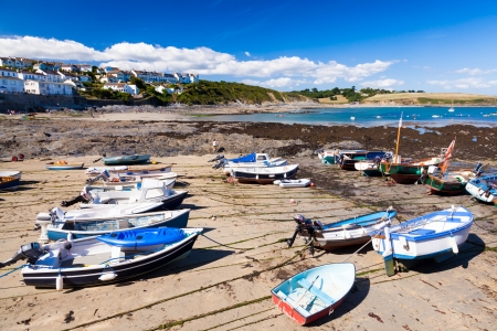 Small fishing boats in harbour at Portscatho Cornwall England UK photo