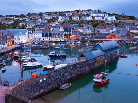 Fishing harbour at Mevagissey Cornwall England UK photo