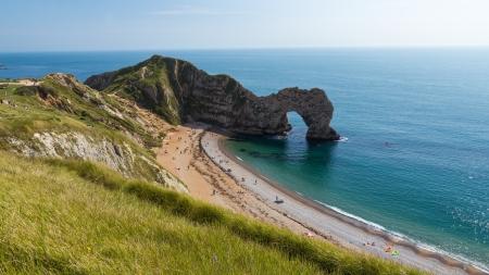 durdle door: The famous rock arch at Durdle Door Dorset England UK
