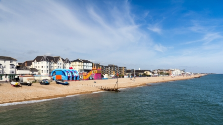 Bognor Regis Beach and seafront seen from the Pier. West Susses England UK