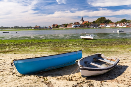 west sussex: Boats moored at the picturesque village of Bosham West Sussex, England UK