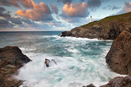 stinking: Views across Stinking Cove to Trevose Head from Dinas Head North Cornwall England UK Stock Photo
