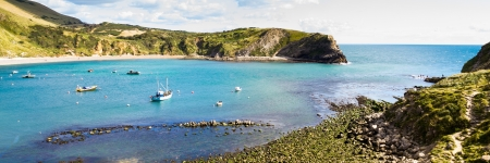 Overlooking the beautiful Lulworth Cove Dorset England UK Stock Photo - 15937588