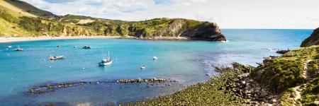 Overlooking the beautiful Lulworth Cove Dorset England UK Stock Photo - 15937588