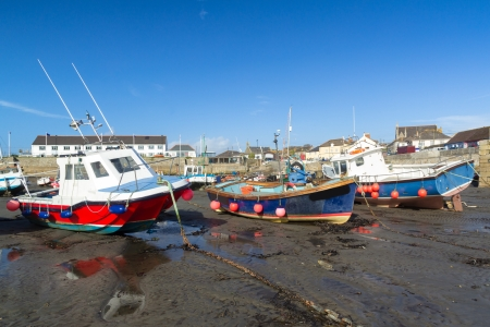 Boast moored at Porthleven Cornwall England UK photo