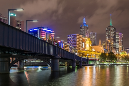 River Yarra and the CBD at night, Melbourne Victoria, Australia