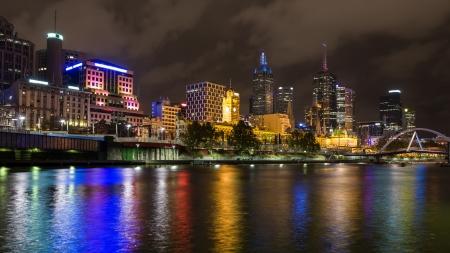 riverside landscape: River Yarra and the CBD at night, Melbourne Victoria, Australia