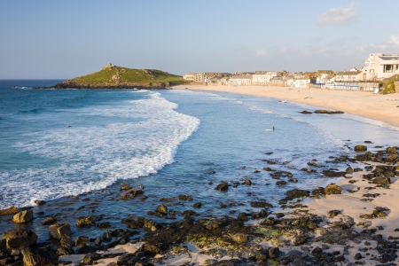 Evening light on Porthmeor Beach St Ives Cornwall England UK photo