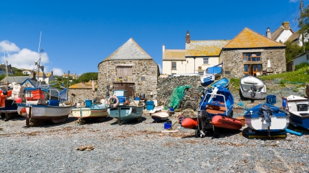 Fishing boats at Cadgwith Cove on the Lizard Peninsula, Cornwall England UK Stock Photo - 16837724