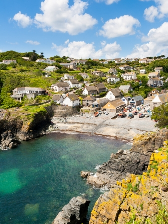 Looking down at Cadgwith Cove on the Lizard Peninsula, Cornwall England UK photo