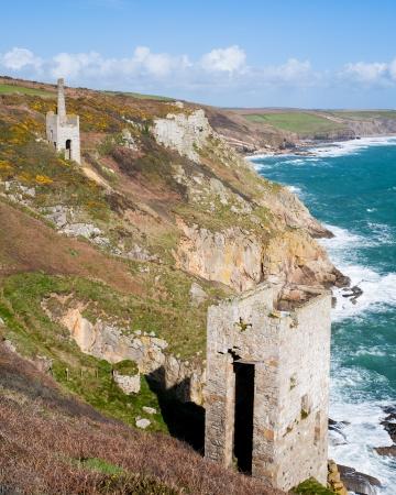 dramatically: The dramatically located engine houses of Trewavas Head Mine Cornwall, part of the Cornish Mining