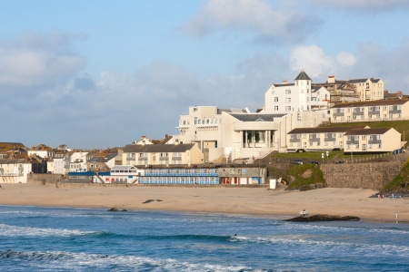 Evening light on Porthmeor Beach St Ives Cornwall England UK