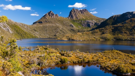 Cradle Mountain and Dove Lake Tasmania in Cradle Mountain Lake St Clair National Park, Australia Stock Photo