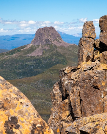 Barn Bluff as seen from the summit of Cradle Mountain Tasmania Australia