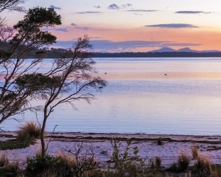 grants: Grants Lagoon near Binalong Bay Tasmania Australia  Stock Photo