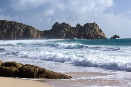 porthcurno: The beautiful golden sandy beach at Porthcurno Cornwall England UK