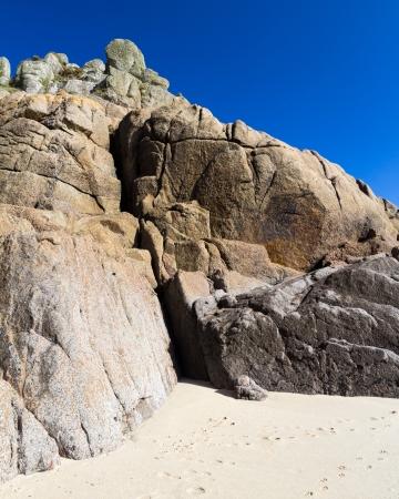 porthcurno: Beautiful Granite Cliffs at Porthcurno Cornwall England UK