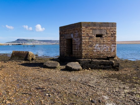 world war two: World War Two coastal defences on the Fleet Portland Dorset England UK Stock Photo