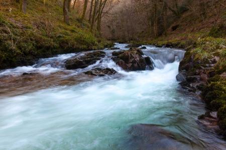 lynmouth: Bubbling falls at Watersmeet Devon England UK