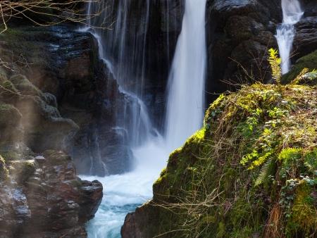 watersmeet: Waterfalls up stream at Watersmeet Devon England UK