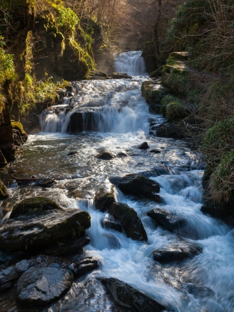 lynmouth: Watersmeet Falls, where the East Lyn River and Hoar Oak Water converge, Devon England UK