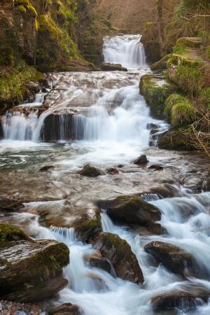 lyn: Watersmeet Falls, where the East Lyn River and Hoar Oak Water converge, Devon England UK