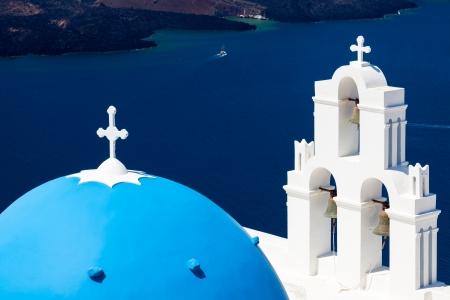 fira: Blue Dome Church at Firostefani near Fira on Thira Island Santorini Greece Stock Photo