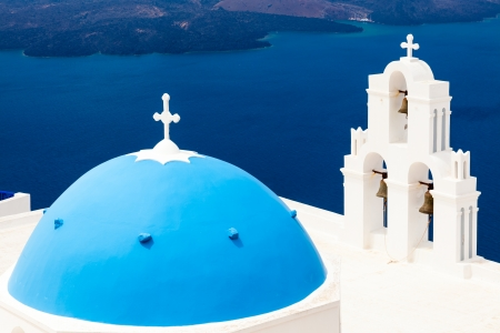 thira: Blue Dome Church at Firostefani near Fira on Thira Island Santorini Greece Stock Photo