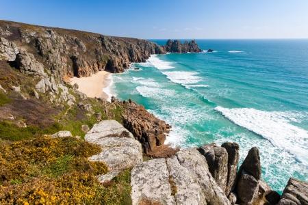 porthcurno: Overlooking Pedn Vounder Beach from Treen Cliffs Cornwall England UK