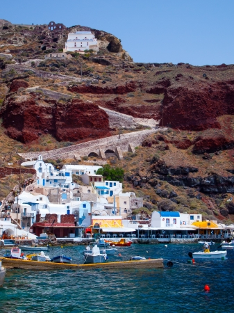 cycladic: The beautiful Ammoudi Bay at Oia Santorini Greece