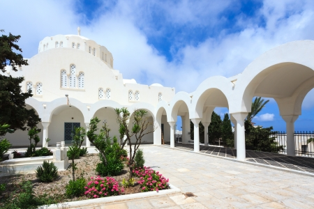 fira: The garden at Fira Orthodox Cathedral, Santorini Greece
