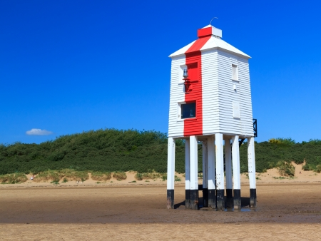 burnham: Wooden Lighthouse on the beach at Burnham On Sea, Somerset England UK
