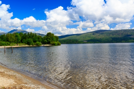 trossachs national park: Summer on the banks of Loch Lomond, The Trossachs National Park Scotland UK