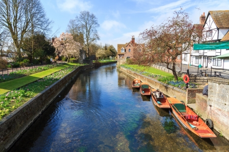 Riverside scenery on the River Stour at Canterbury Kent England UK Stock Photo